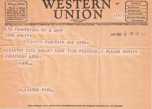 Telegram on Crowley death